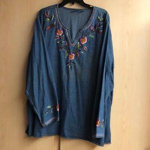 Ladies' embroidered/beaded denim top